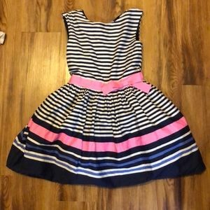 Girls white navy and pink dress